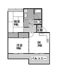 中菅谷ハイツ[105号室]の間取り