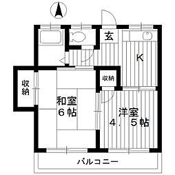 東京都練馬区田柄3丁目の賃貸アパートの間取り