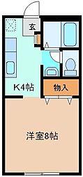 サンライフT・K 1階1Kの間取り