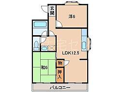 ヴィラ貴志川[3階]の間取り
