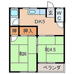 大西アパート[1階]の間取り