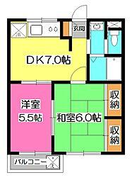 埼玉県入間市東藤沢5丁目の賃貸マンションの間取り