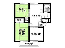 サンハイツ富士A棟[203号室]の間取り