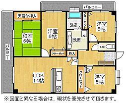 福岡県北九州市八幡西区則松5丁目の賃貸マンションの間取り