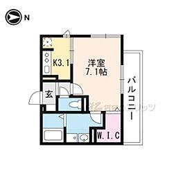 仮称)D−room一乗寺高槻町 3階1Kの間取り