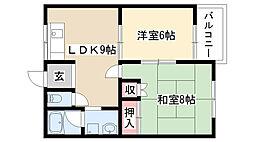 愛知県名古屋市天白区鴻の巣2丁目の賃貸アパートの間取り