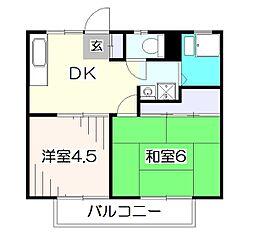 東京都東久留米市南沢3の賃貸アパートの間取り