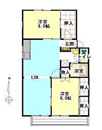 パークサイドナカシマ[2階]の間取り