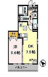 兵庫県三木市緑が丘町西5の賃貸アパートの間取り