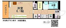 JR横浜線 十日市場駅 徒歩3分の賃貸マンション 3階1Kの間取り