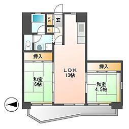 中駒九番団地8号棟[13階]の間取り