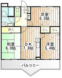 神奈川県相模原市中央区東淵野辺5丁目の賃貸マンションの間取り