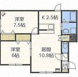 ルミエール東札幌[2階]の間取り