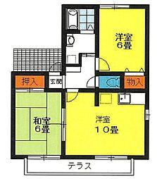 静岡県三島市東本町2丁目の賃貸アパートの間取り