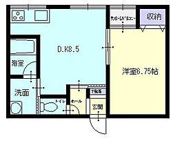 秋田県横手市三本柳字街道下の賃貸アパートの間取り