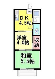 コーポヤワタ[101号室]の間取り