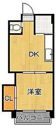 パークハイツ黒崎I 2階1DKの間取り