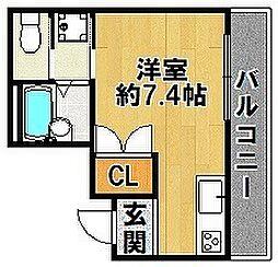 エクシエ ONE 2階ワンルームの間取り