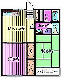 埼玉県蕨市中央7丁目の賃貸アパートの間取り