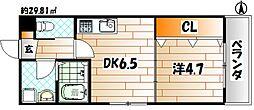 福岡県北九州市八幡西区陣原3丁目の賃貸アパートの間取り
