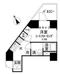 アイディ西五反田 8階1Kの間取り