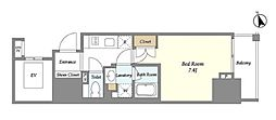 都営大江戸線 赤羽橋駅 徒歩7分の賃貸マンション 12階1Kの間取り