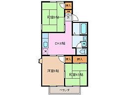 ハイツU[1階]の間取り