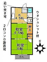 愛知県名古屋市千種区本山町1丁目の賃貸アパートの間取り