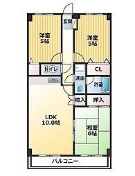 四国ホームハイツ[3階]の間取り