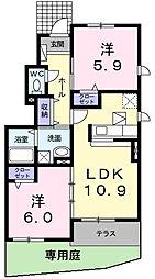 レジテンスイナリA[2階]の間取り