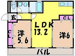 愛媛県松山市姫原3丁目の賃貸マンションの間取り