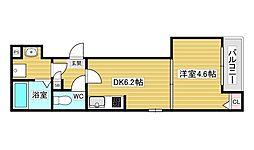 アクロス大和田アパートメントIII 3階1DKの間取り