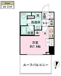 都営大江戸線 清澄白河駅 徒歩10分の賃貸マンション 7階ワンルームの間取り