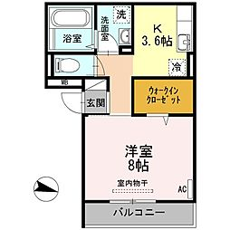 広島県福山市寺町の賃貸アパートの間取り