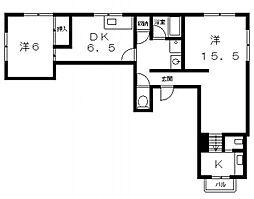 オネスト堂ヶ芝[1階]の間取り