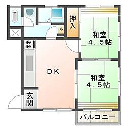 城北第2ビル[3階東号室]の間取り