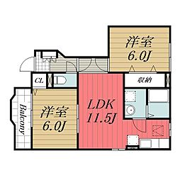 千葉県成田市西三里塚の賃貸アパートの間取り