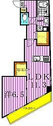 ツリーデン綾瀬 4階1LDKの間取り