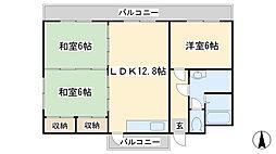 福岡県北九州市小倉北区愛宕2丁目の賃貸マンションの間取り