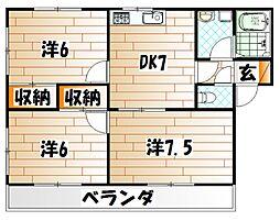 福岡県北九州市若松区二島6の賃貸アパートの間取り