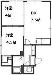 平岸第1マンションA・B棟[2階]の間取り