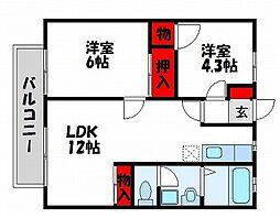福岡県福津市中央2丁目の賃貸アパートの間取り
