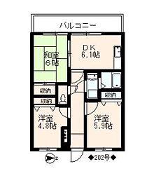 福岡県福岡市城南区南片江3丁目の賃貸アパートの間取り