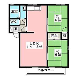クレストハイツB[1階]の間取り