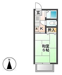 愛知県名古屋市名東区よもぎ台1丁目の賃貸アパートの間取り
