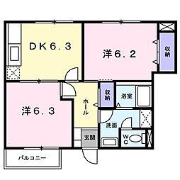 香川県善通寺市弘田町の賃貸アパートの間取り