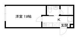 HOTEL THE POINT清水五条 3階1Kの間取り