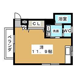 ジュネス赤坂丹後坂 2階ワンルームの間取り