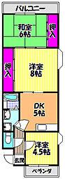 大阪府富田林市甲田2丁目の賃貸マンションの間取り