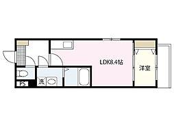 セブンプロート舟入幸町 2階1LDKの間取り